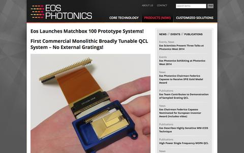 Screenshot of Products Page eosphotonics.com - Products (New!) | Eos Photonics - captured Oct. 1, 2014