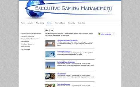 Screenshot of Services Page executivegamingmanagement.com - Services - Native American Gaming - captured Sept. 30, 2014