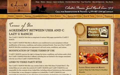 Screenshot of Terms Page clazyu.com - Terms of Use | C Lazy U Dude Ranch | Colorado | C Lazy U Ranch - captured Oct. 5, 2014