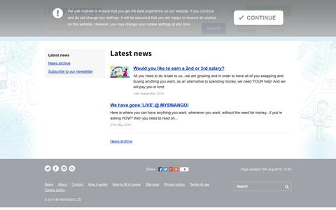 Screenshot of Press Page myswango.com - Latest news | News | myswango | Everyone has something to offer! - captured Sept. 30, 2014