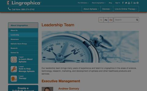 Screenshot of Team Page aphasia.com - Assistive Technology Leadership Team at Lingraphica Lingraphica - captured Jan. 30, 2016