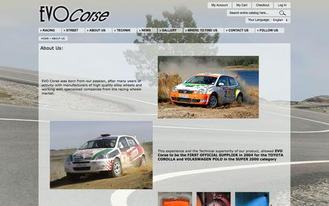 Screenshot of About Page evocorse.com - About  Us - captured Sept. 22, 2014