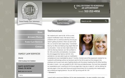 Screenshot of Testimonials Page mjhillfirm.com - Client Testimonials | M. J. Hill & Associates, PLLC - captured Sept. 30, 2016