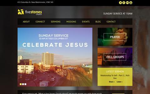 Screenshot of Home Page fivestoneschurch.org captured Sept. 30, 2014