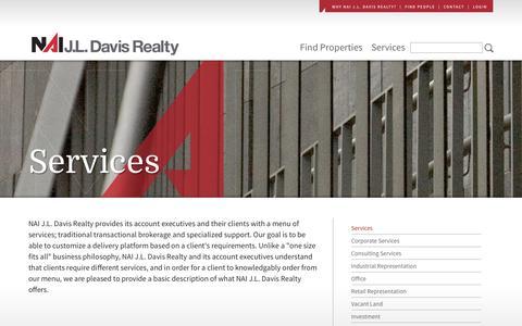 Screenshot of Services Page jldavisrealty.com - Services - captured June 17, 2016