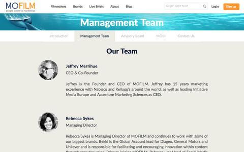 Screenshot of Team Page mofilm.com - MOFILM:             Management Team - captured July 21, 2016