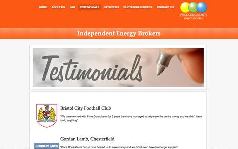 Screenshot of Testimonials Page priceconsultants.co.uk - Price Consultants - energy consultants offering cheap gas and electricity prices - captured Sept. 30, 2014