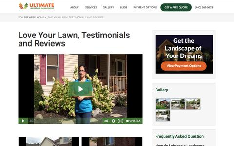 Screenshot of Testimonials Page ultimatelandscapeoh.com - Love Your Lawn Like Our Customers, Testimonials - captured Nov. 19, 2016