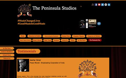 Screenshot of Testimonials Page thepeninsulastudios.com - Testimonials The Peninsula Studios - captured Sept. 21, 2018