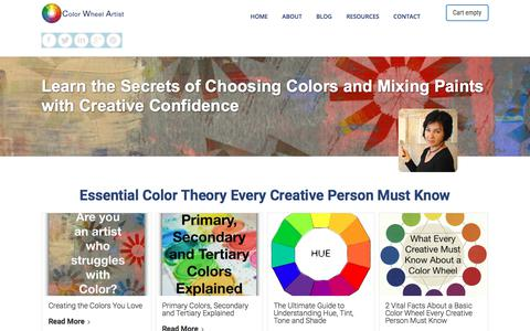 Screenshot of Home Page color-wheel-artist.com - Color Wheel Artist: Learn how to Unlock the Secrets of choosing and mixing colors that look stunning. Color Theory, Meanings of Color, Color Schemes, Color Courses and more. - captured Oct. 16, 2017