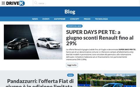 Screenshot of Blog drivek.it - Blog auto DriveK: novità e notizie automobili 2016 2017 2018 - captured July 3, 2016