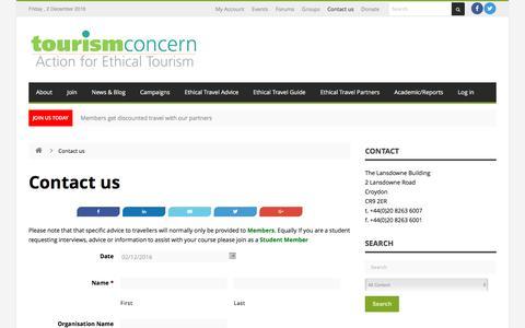 Screenshot of Contact Page tourismconcern.org.uk - Contact us   - captured Dec. 2, 2016
