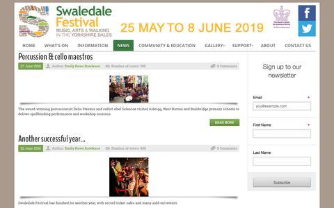 Screenshot of Press Page swaledale-festival.org.uk - Swaledale Festival > News - captured Sept. 21, 2018