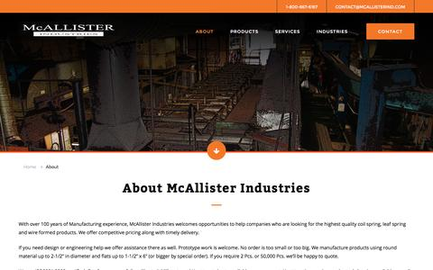 Screenshot of About Page mcallisterind.com - About McAllister Industries - Manufacturing Heavy-Duty Springs and U-Bolts for 100 Years - captured Nov. 28, 2016