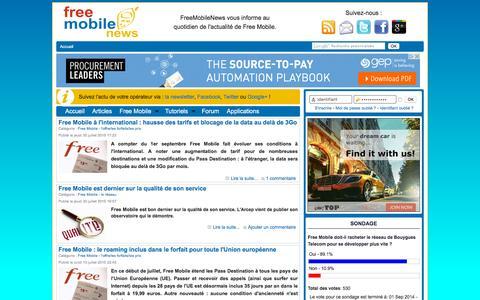 Screenshot of Home Page freemobilenews.fr - Free Mobile News - L'actualité de Free Mobile - captured Oct. 16, 2015