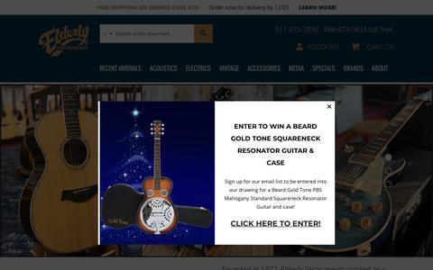 Screenshot of Home Page elderly.com - Elderly Instruments - captured Dec. 19, 2018
