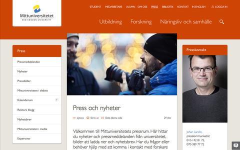 Screenshot of Press Page miun.se - PRESS - captured Feb. 5, 2016