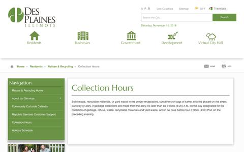 Screenshot of Hours Page desplaines.org - Des Plaines - Collection Hours - captured Nov. 10, 2018