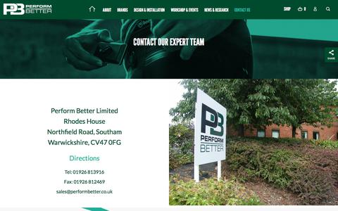 Screenshot of Contact Page performbetter.co.uk - Performance Sports Equipment in Midlands | Perform Better UK - captured Sept. 22, 2018