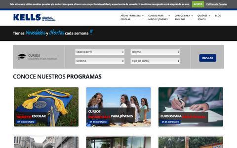 Screenshot of Home Page kellscollege.com - Cursos idiomas extranjero,  cursos de inglés en el extranjero, campamentos de inglés | Kells College - captured Oct. 14, 2018