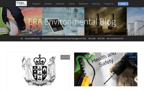 Screenshot of Blog era-environmental.com - Environmental Compliance Management Blog | ERA Environmental - captured Dec. 9, 2018