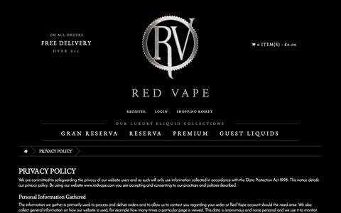 Screenshot of Privacy Page redvape.com - Privacy Policy | Red Vape.com - captured Dec. 12, 2016