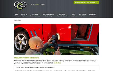 Screenshot of FAQ Page exclusivecarcare.co.uk - FAQ'S | Exclusive Car Care - captured Sept. 30, 2014