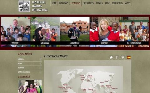 Screenshot of Locations Page eliabroad.org - Locations - captured Oct. 30, 2014