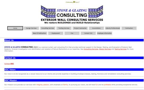 Screenshot of Home Page stoneglazing.com - Stone and Glazing Consulting - captured Oct. 7, 2014