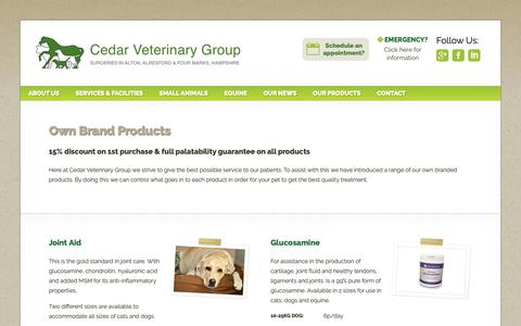 Screenshot of Products Page cedarvet.com - Cedar Veterinary Group - a range of our own branded products - captured Sept. 27, 2018