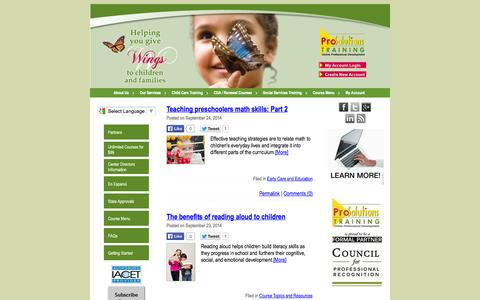 Screenshot of Blog prosolutionstraining.com - Pro Solutions Training - Blog | Online Training - Child Care Training - CDA Coursework - Social Services Training - captured Sept. 30, 2014