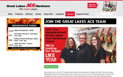 Screenshot of Jobs Page greatlakesace.com - Join The Great Lakes Ace Team - Great Lakes Ace Hardware Store - captured Nov. 20, 2018