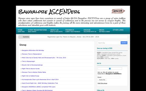 Screenshot of Site Map Page bangaloreascenders.org - Sitemap           |            Bangalore ASCENDers - captured Oct. 29, 2018