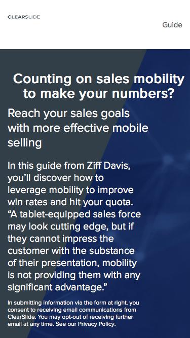 Counting on sales mobility to make your numbers? | ClearSlide