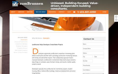 Screenshot of Developers Page zumbrunnen.com - Developers - zumBrunnen - captured Oct. 19, 2018