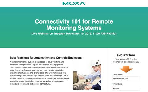 Screenshot of Landing Page moxa.com - Moxa Webinar - Connectivity 101 for Remote Monitoring Systems - captured Nov. 10, 2016