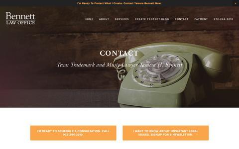 Screenshot of Contact Page tbennettlaw.com - Texas Trademark Lawyer Tamera Bennett – Contact Lawyer Tamera Bennett - captured Oct. 5, 2014