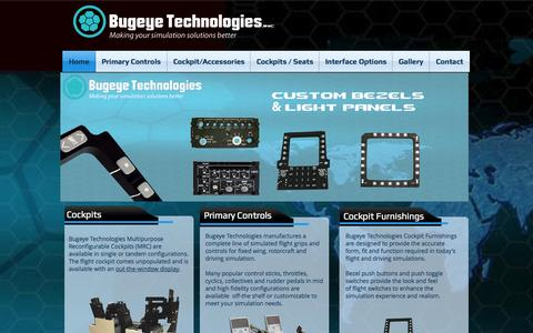 Screenshot of Home Page bugeyetech.com - Bugeye Technologies Flight Controls F-16,F-18,F-22,F-35, A-10, UH-60, CH-46, AH-64, cockpits - captured Oct. 5, 2014