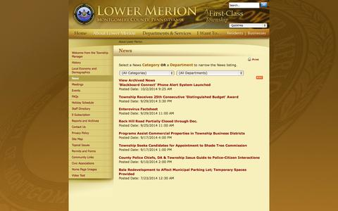 Screenshot of Press Page lowermerion.org - Lower Merion Township : News - captured Oct. 3, 2014