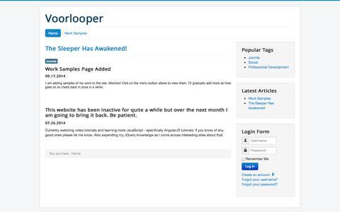 Screenshot of Home Page voorlooper.net - Home - captured Sept. 30, 2014