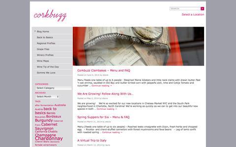 Screenshot of Blog corkbuzz.com - Corkbuzz Blog - NYC Wine Bar with Wine Education and Events   Corkbuzz Wine Studio - captured Sept. 25, 2014
