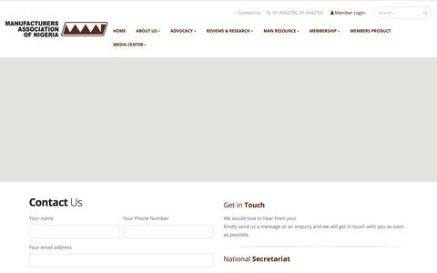 Screenshot of Contact Page manufacturersnigeria.org - Manufacturers Association of Nigeria [MAN Portal] - captured Oct. 2, 2018