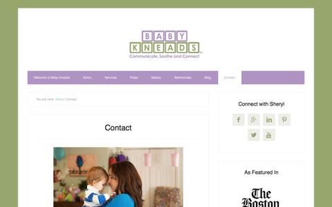 Screenshot of Contact Page babykneads.com - Contact - captured July 28, 2016