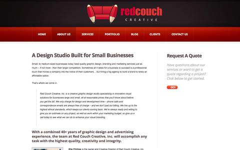 Screenshot of About Page redcouchcreative.com - About Red Couch Graphic Design Studio & Visual Creative GroupRed Couch Creative, inc. - captured Oct. 7, 2014