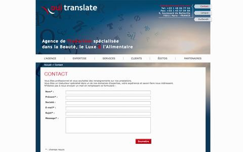 Screenshot of Contact Page ouitranslate.com - Devis traduction Traduction urgente Contact Agence traduction Ouitranslate - captured Oct. 26, 2014