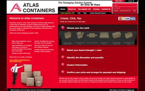 Screenshot of Home Page atlascontainers.com - Custom Corrugated & Insulated Shipping Boxes | Toronto - captured Sept. 30, 2014