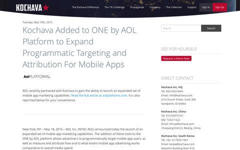 Kochava Added to ONE by AOL Platform to Expand Programmatic Targeting and Attribution For Mobile Apps - Kochava