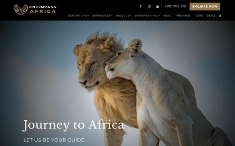 Screenshot of Home Page encompassafrica.com.au - Encompass Africa : The Quintessential Luxury African Safari Specialist - captured July 19, 2018