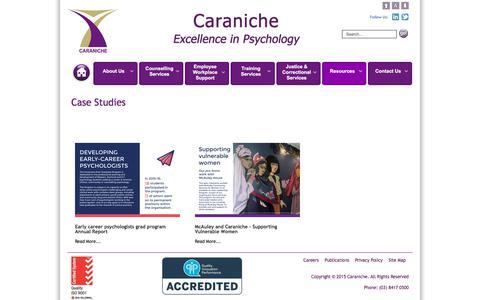 Screenshot of Case Studies Page caraniche.com.au - Caraniche | Case Studies - Caraniche Consultation - captured July 16, 2018