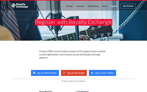 Screenshot of Signup Page royaltyexchange.com - Welcome to Royalty Exchange  False - captured May 9, 2017